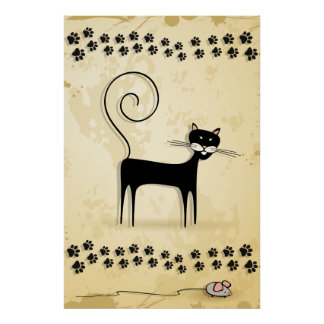 Black cat and mouse print