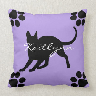 Black Cat and paws on Lavender Throw Pillow