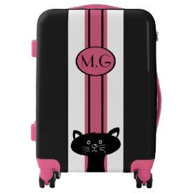 Black Cat and Pink Stripe Luggage