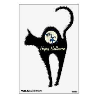 Black Cat and Police Witch Halloween Decoration Wall Sticker