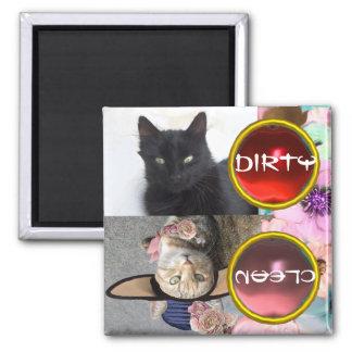 BLACK CAT AND PRINCESS TATUS DIRTY CLEAN MAGNET