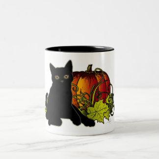 Black Cat and Pumpkin Coffee Mugs