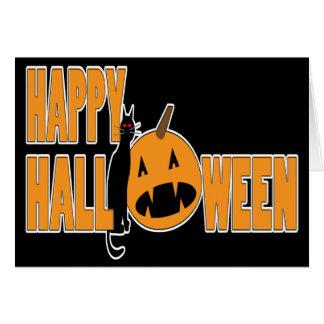 black cat and pumpkin happy halloween card