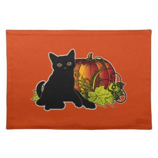Black Cat and Pumpkin Place Mats