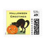 Black cat and pumpkin postage