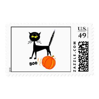 Black Cat And Pumpkin Postage