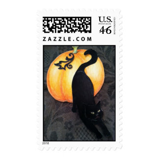 Black cat and pumpkin postage stamp by bbillips
