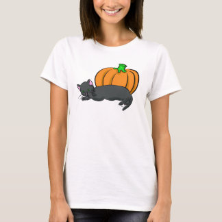 Black Cat and Pumpkin T-Shirt