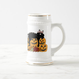 Black Cat and Pumpkins Beer Stein
