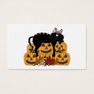 Black Cat and Pumpkins Business Card