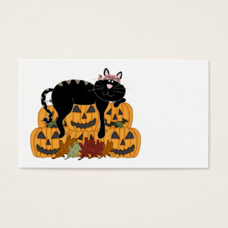 Black Cat and Pumpkins Business Card