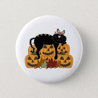 Black Cat and Pumpkins Button
