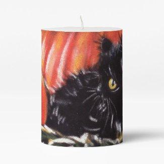 Black Cat and Pumpkins Candle
