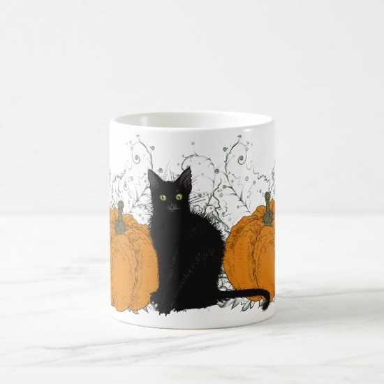 Black Cat and Pumpkins Coffee Mug
