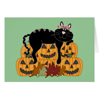 Black Cat and Pumpkins Greeting Cards