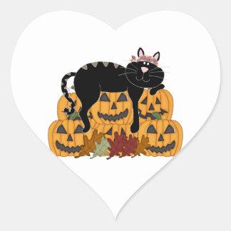 Black Cat and Pumpkins Heart Sticker