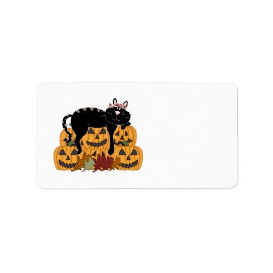 Black Cat and Pumpkins Label