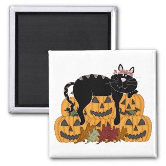 Black Cat and Pumpkins Magnets