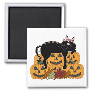 Black Cat and Pumpkins Magnets