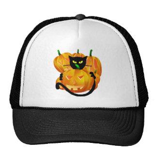 *Black Cat and Pumpkins Mesh Hat