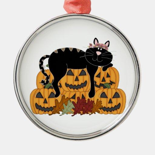 Black Cat and Pumpkins Christmas Tree Ornament