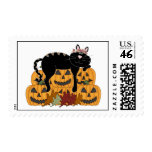Black Cat and Pumpkins Stamps