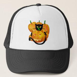 *Black Cat and Pumpkins Trucker Hat