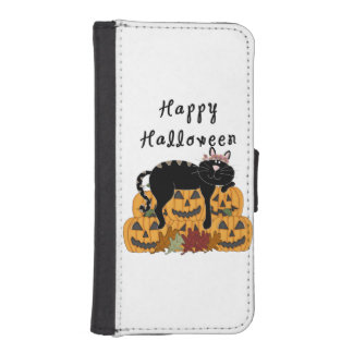 Black Cat and Pumpkins Wallet Phone Case For iPhone SE/5/5s
