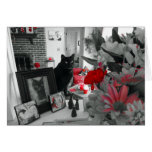 Black Cat and Red Flowers Mother's Day Card