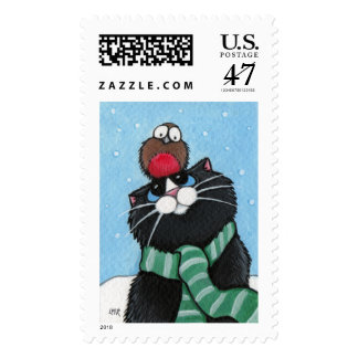 Black Cat and Robin Postage
