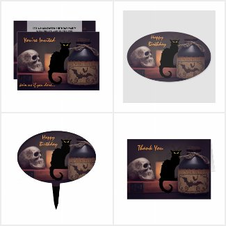 Black Cat and Skull Halloween Birthday Collection