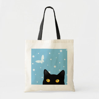 Black Cat and Snow Butterfly Tote Bag