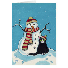 Black Cat And Snowman Christmas Card at Zazzle