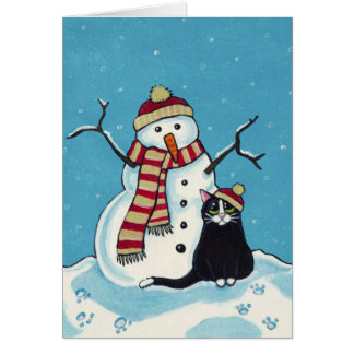 Black Cat and Snowman Christmas Card