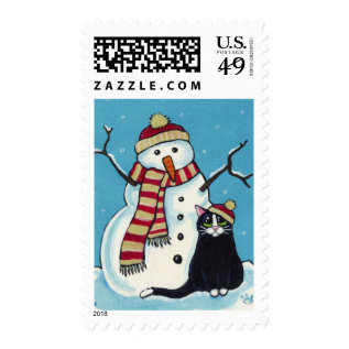 Black Cat And Snowman Festive Postage at Zazzle
