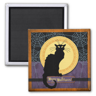 Black Cat and Spider Webs on Halloween Night 2 Inch Square Magnet