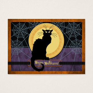 Black Cat and Spider Webs on Halloween Night Business Card