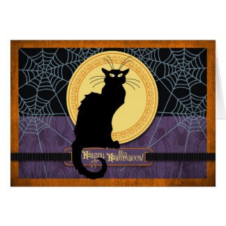 Black Cat and Spider Webs on Halloween Night Greeting Card