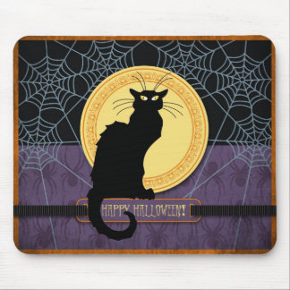 Black Cat and Spider Webs on Halloween Night Mouse Pad