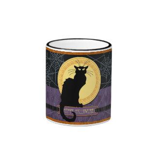 Black Cat and Spider Webs on Halloween Night Ringer Mug