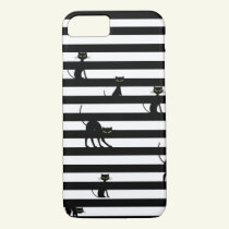 Black Cat and Stripes Samsung & iPhone 8/7 Case