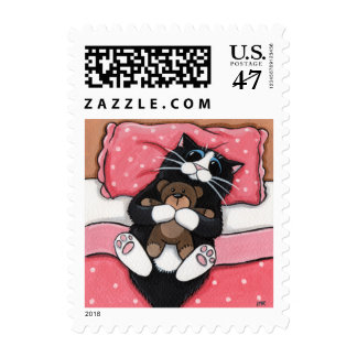 Black Cat and Teddy Bear Postage