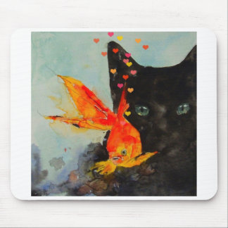 Black cat and the gold fish mouse pad