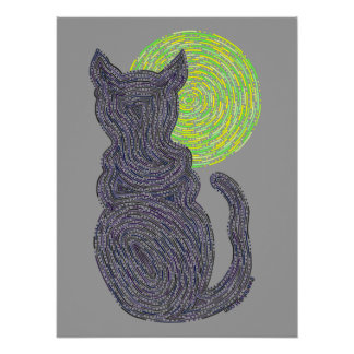 Black Cat And The Moon Abstract Zen Cat 16 x 20 Poster