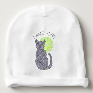 Black Cat And The Moon Cat Lover Baby Beanie