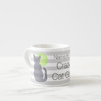 Black Cat And The Moon Cat Lover Crazy Cat Guy Espresso Cup
