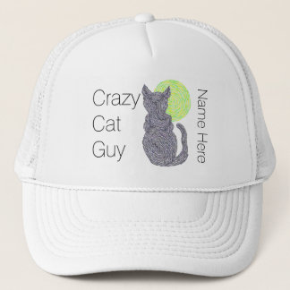 Black Cat And The Moon Cat Lover Crazy Cat Guy Trucker Hat