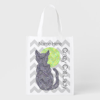 Black Cat And The Moon Cat Lover Crazy Cat Lady Grocery Bags