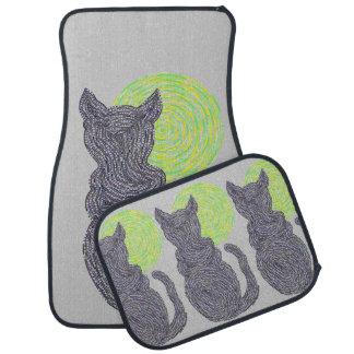Black Cat And The Moon Cat Lover Custom Full Car Mat