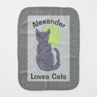 Black Cat And The Moon Cat Lover Feline Kitten Burp Cloths